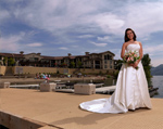 Bride standing outside near Lake Osoyoos at Walnut Beach Resort.