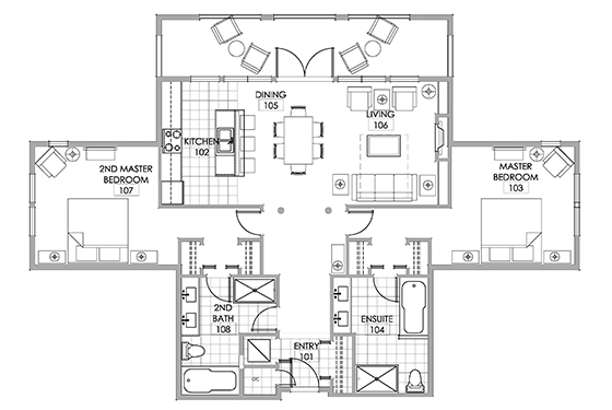 Penthouse suite floor plan Walnut Beach Resort.