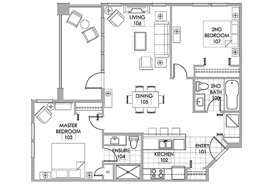 Gamay room floor plan at Walnut Beach Resort Osoyoos.