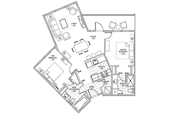Merlot room floor plan.