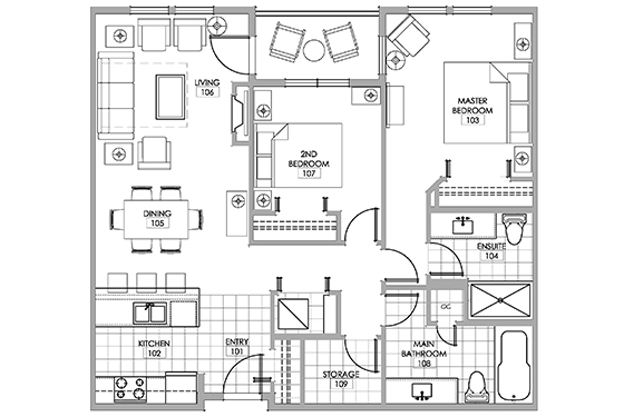 Red shiraz room floor plan.