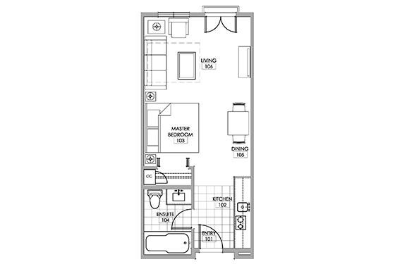 Chardonnay room floor plan at Walnut Beach Resort.