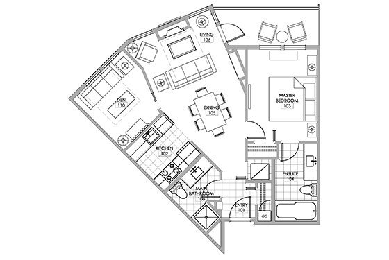 Pinot room floor plan at Walnut Beach Resort Osoyoos.