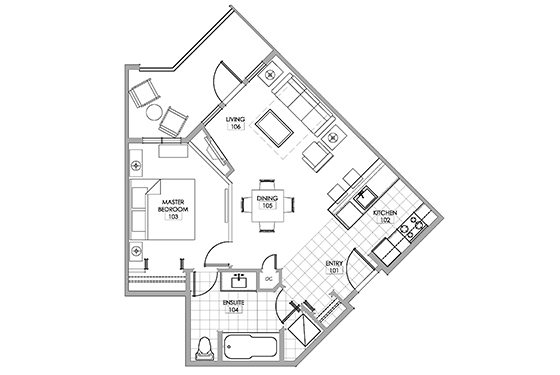 Semillon Room floor plan at Walnut Beach Resort Osoyoos