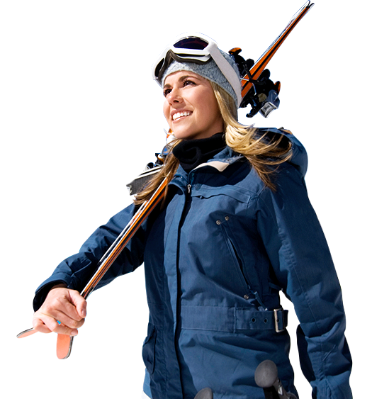 Woman skier holding her skis